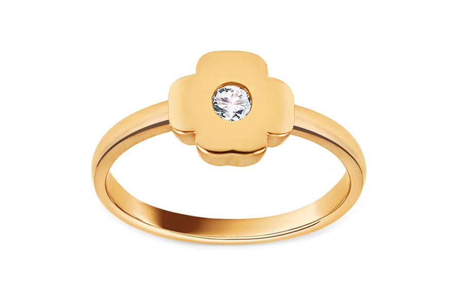 Zlatý prsten se zirkonem Čtyřlístek IZ12933