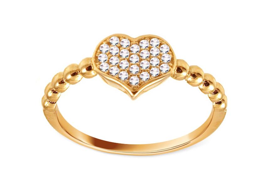 Zlatý prsten se zirkonovým srdcem IZ10698