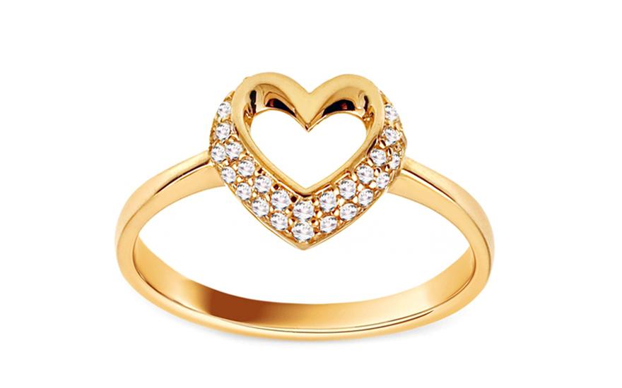 Zlatý prsten se zirkonovým srdcem IZ11157