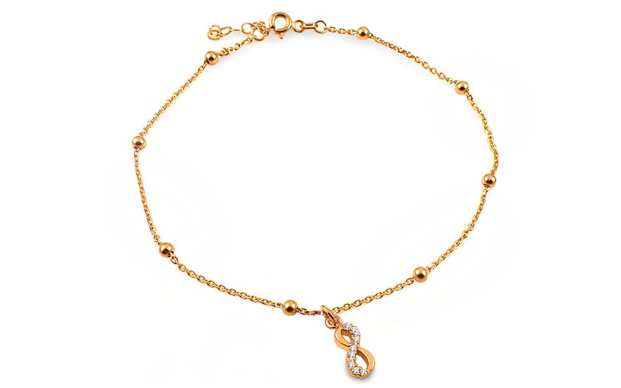 Zlatý řetízek na nohu nekonečno se zirkony IZ13546