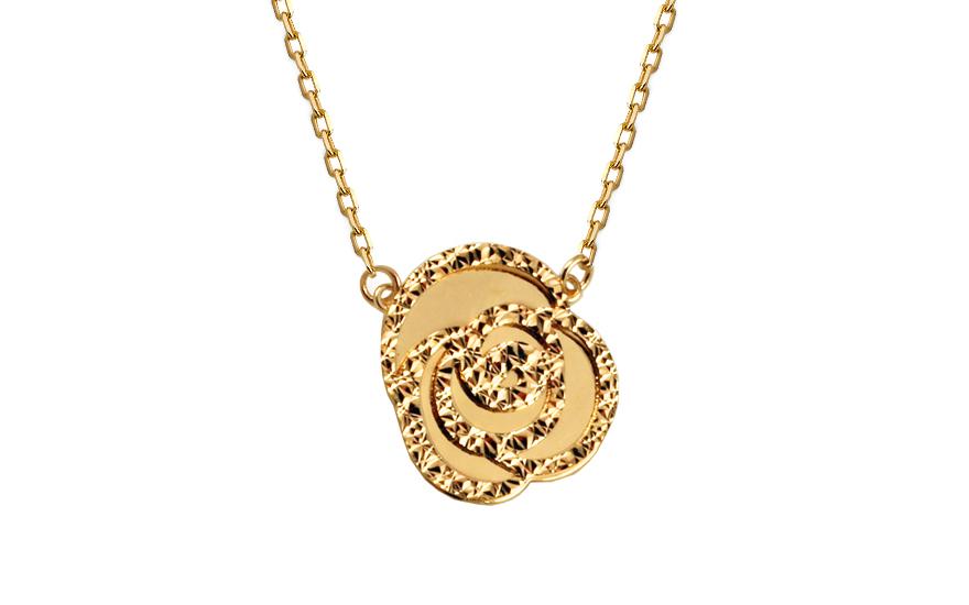 Zlatý řetízek s přívěskem Rose IZ10581