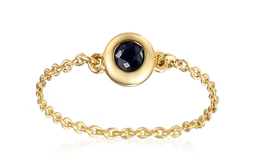 Zlatý řetízkový prsten se safírem IZBR270Z