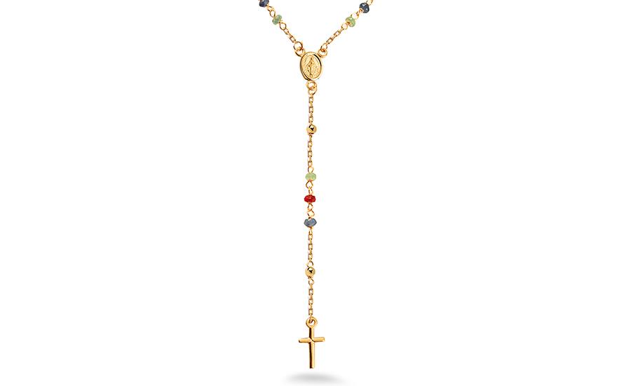 Zlatý růženec s přírodními safíry, rubíny a smaragdy IZ11220R