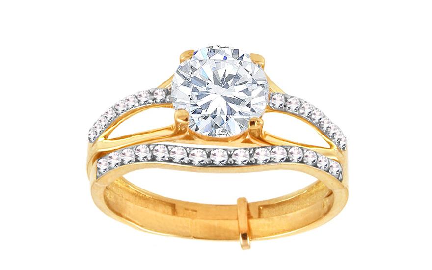 Zlatý zásnubní dvojitý prsten se zirkony Trésor IZ10017