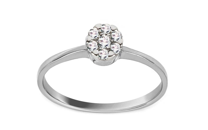 Zásnubní prsten z bílého zlata Princess 16 CSRI2053A