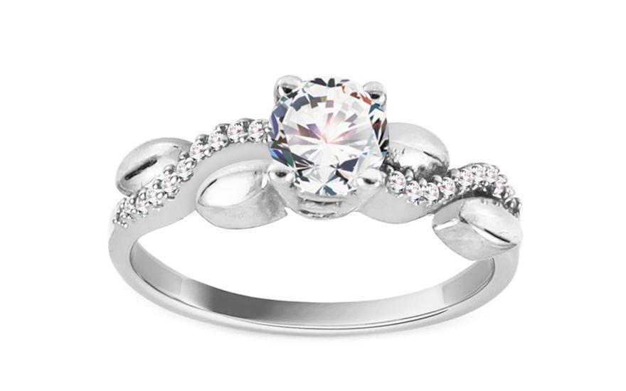 Zlatý zásnubní prsten Bicolor Tresses white CSRI793A