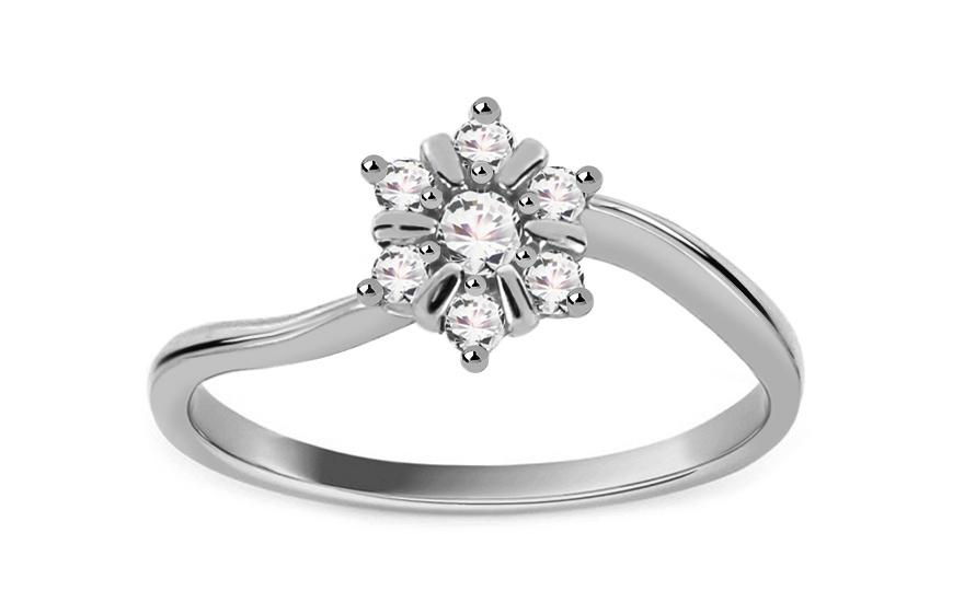 Zlatý zásnubní prsten Isar 4 white CSRI1042A