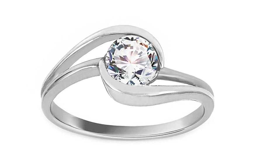 Zlatý zásnubní prsten RAMONA 7 white CSRI997A