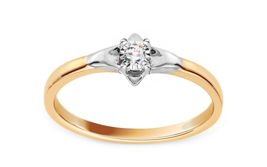 Zlatý zásnubní prsten s diamantem 0,020 ct Lillia KU617