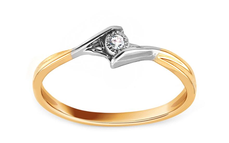 Zlatý zásnubní prsten s diamantem 0,020 ct Saray KU852