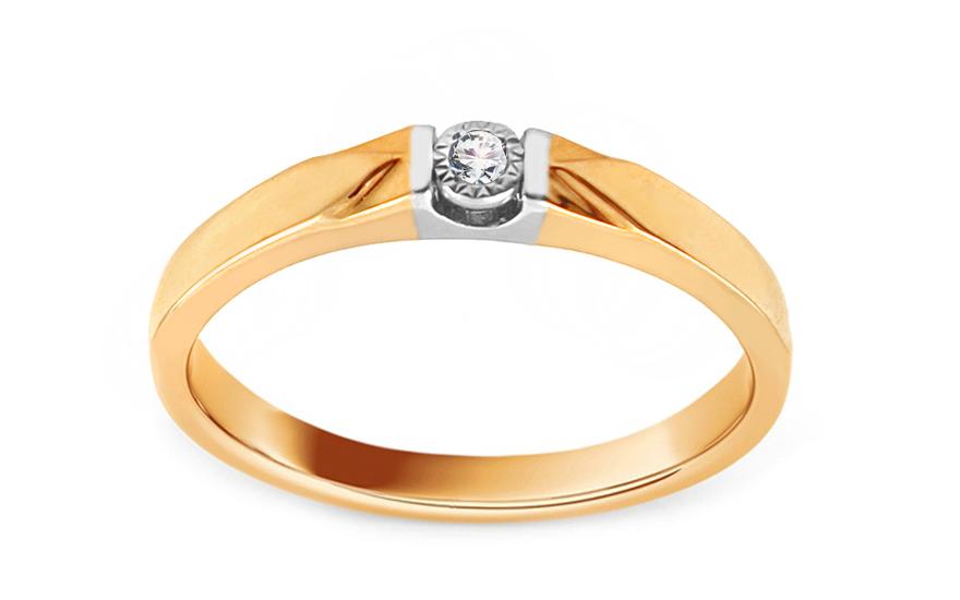 Zlatý zásnubní prsten s diamantem 0,020 ct Zofia KU848