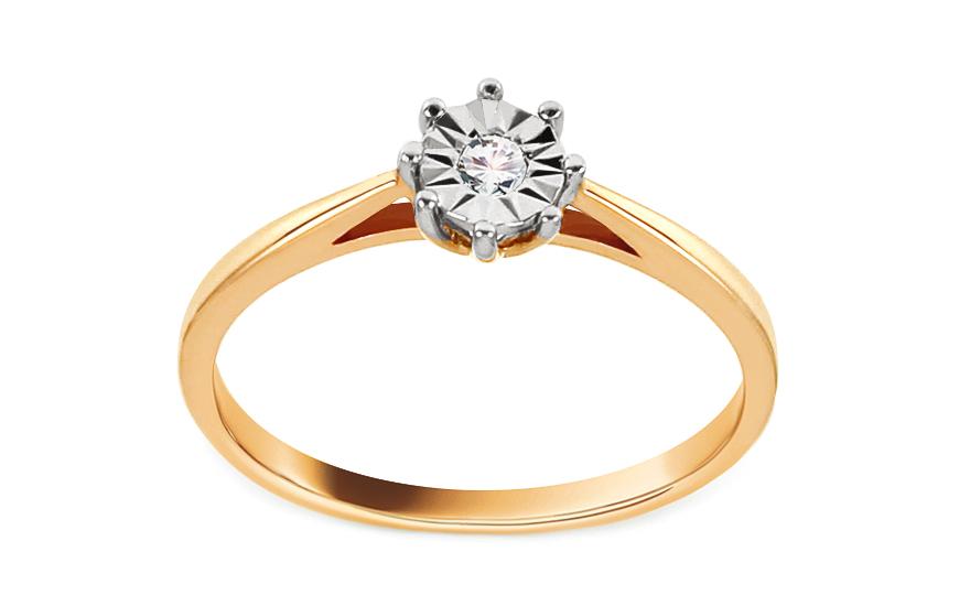 Zlatý zásnubní prsten s diamantem 0,030 ct Adrie VKBR010