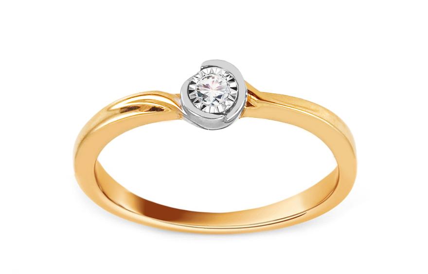 Zlatý zásnubní prsten s diamantem 0,030 ct Alameda KU699