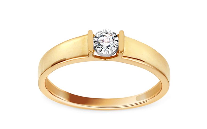 Zlatý zásnubní prsten s diamantem 0,040 ct Betsey KU646