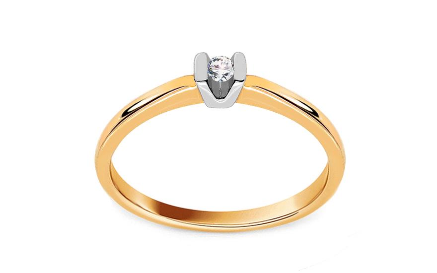Zlatý zásnubní prsten s diamantem 0,040 ct Jazmyn KU638