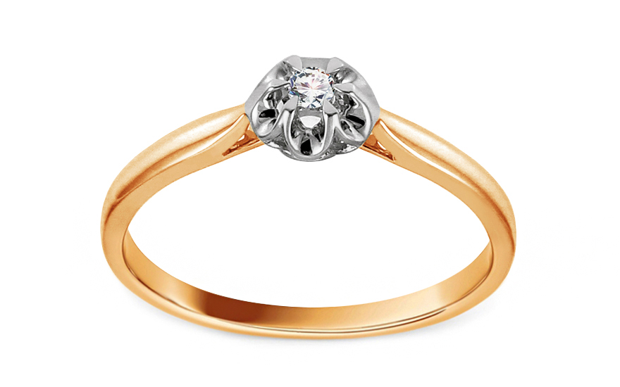 Zlatý zásnubní prsten s diamantem 0,040 ct Laila KU689