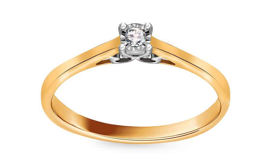 Zlatý zásnubní prsten s diamantem 0,040 ct Lourie KU636