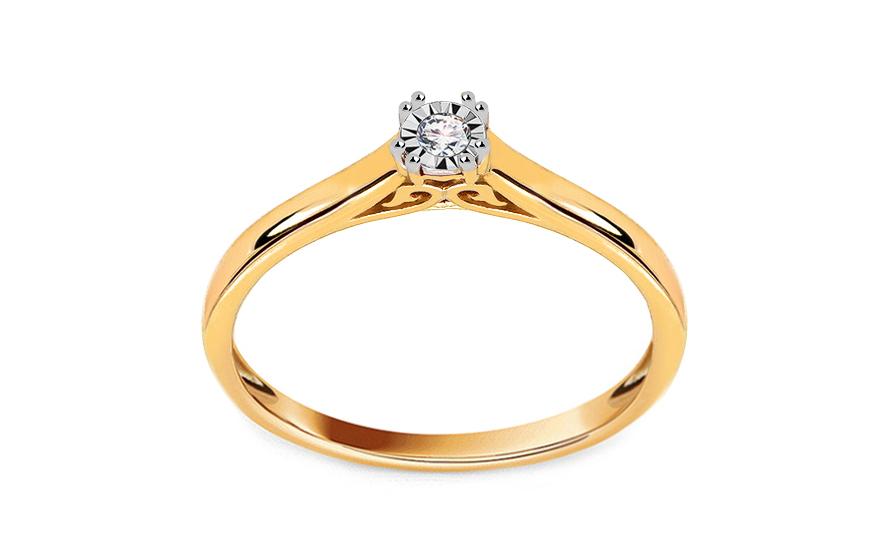 Zlatý zásnubní prsten s diamantem 0,040 ct Penney KU628