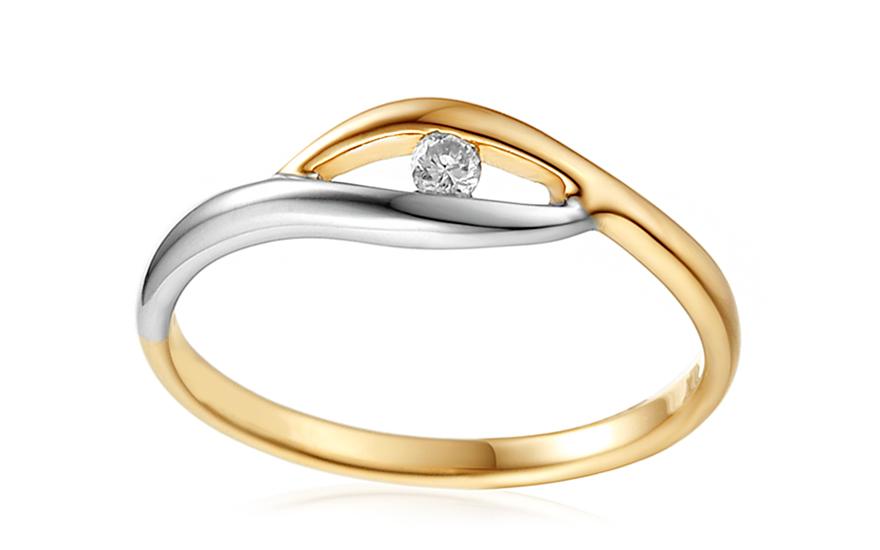 Zlatý zásnubní prsten s diamantem 0,040 ct Sidney 1 IZBR398M