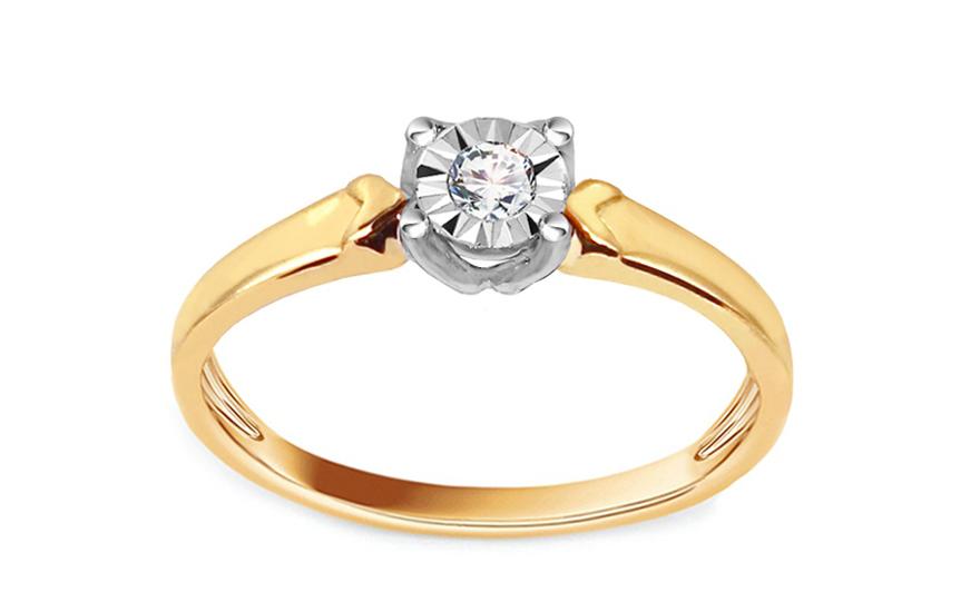 Zlatý zásnubní prsten s diamantem 0,050 ct Marlena KU620