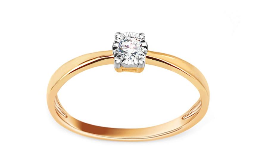 Zlatý zásnubní prsten s diamantem 0,050 ct Ophelia KU640
