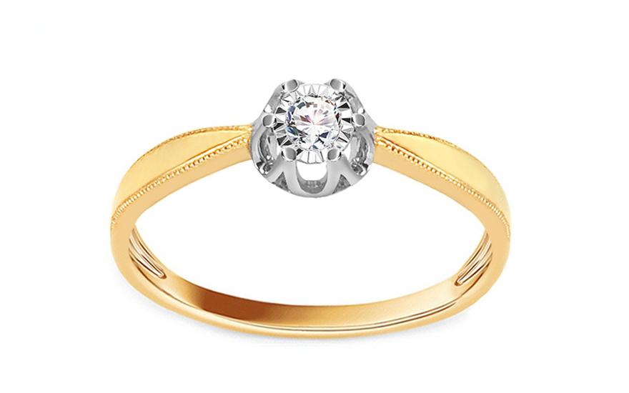 Zlatý zásnubní prsten s diamantem 0,060 ct Sabra KU618
