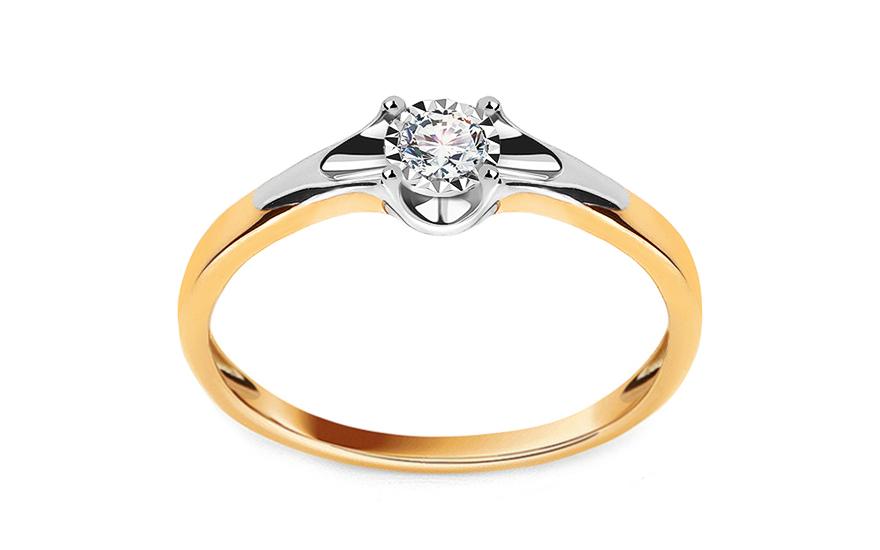 Zlatý zásnubní prsten s diamantem 0,080 ct Andria KU578