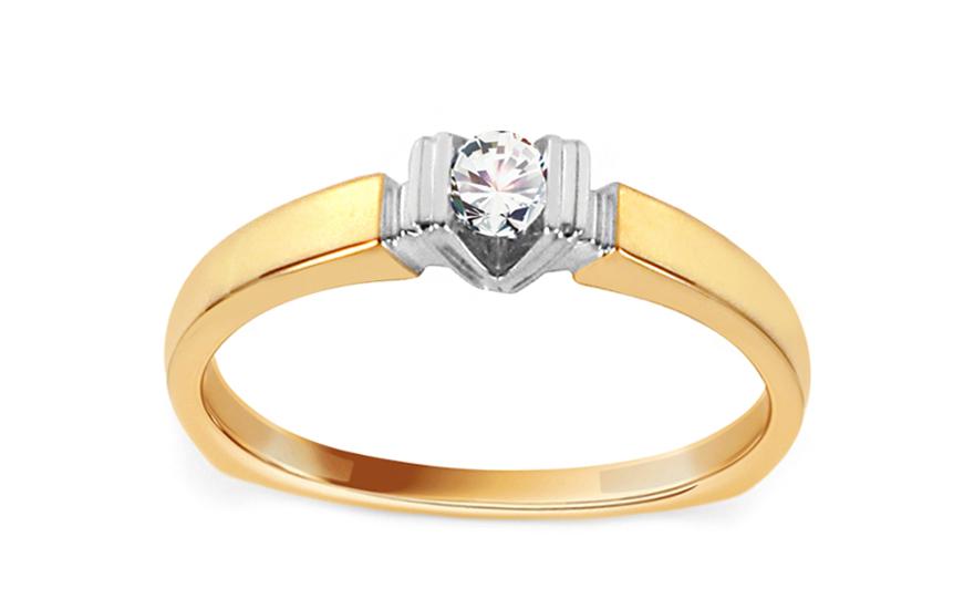 Zlatý zásnubní prsten s diamantem 0,080 ct Idella KU648