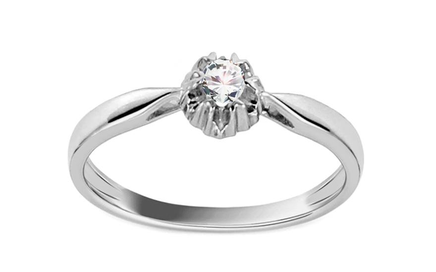 Zlatý zásnubní prsten s diamantem 0,080 ct Kathryn KU645A