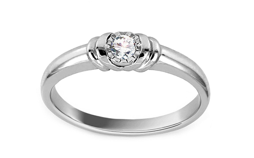 Zlatý zásnubní prsten s diamantem 0,080 ct Vickey KU633A