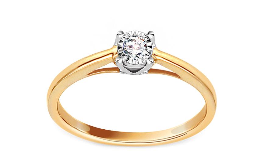 Zlatý zásnubní prsten s diamantem 0,090 ct Dakota KU624