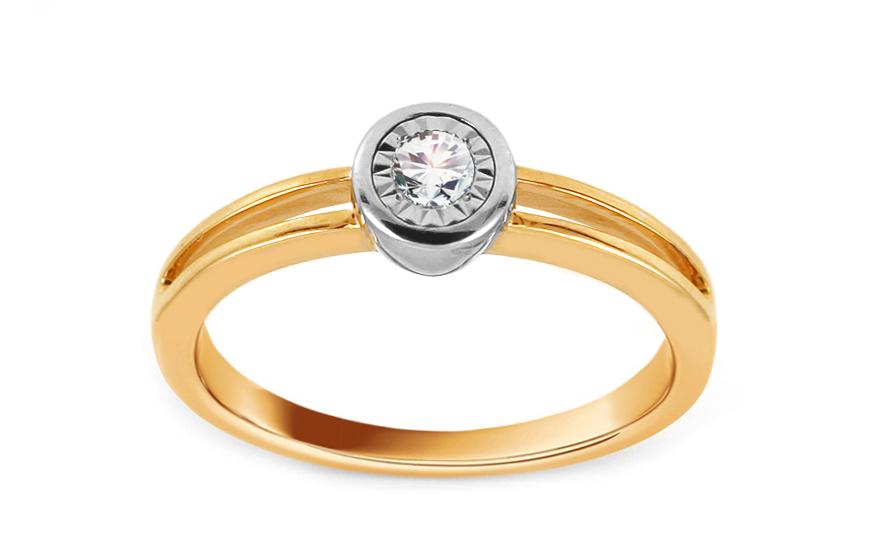 Zlatý zásnubní prsten s diamantem 0,090 ct Djanira KU698