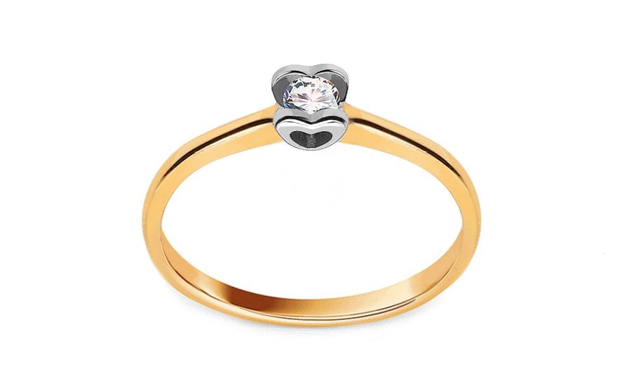 Zlatý zásnubní prsten s diamantem 0,090 ct Power Of Love 10 LRBR032YW