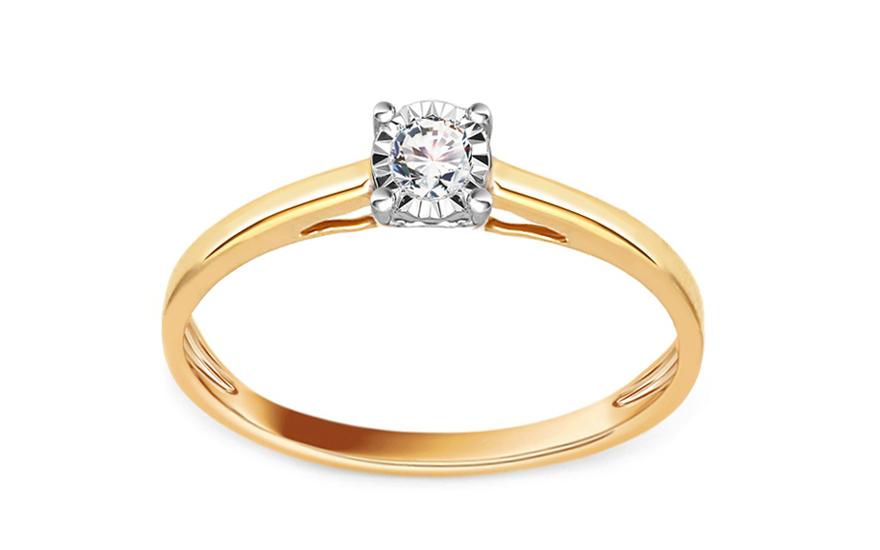 Zlatý zásnubní prsten s diamantem 0,100 ct Breann KU632