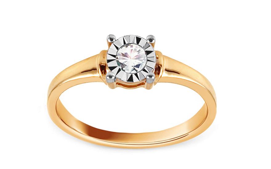Zlatý zásnubní prsten s diamantem 0,100 ct Darby VKBR009