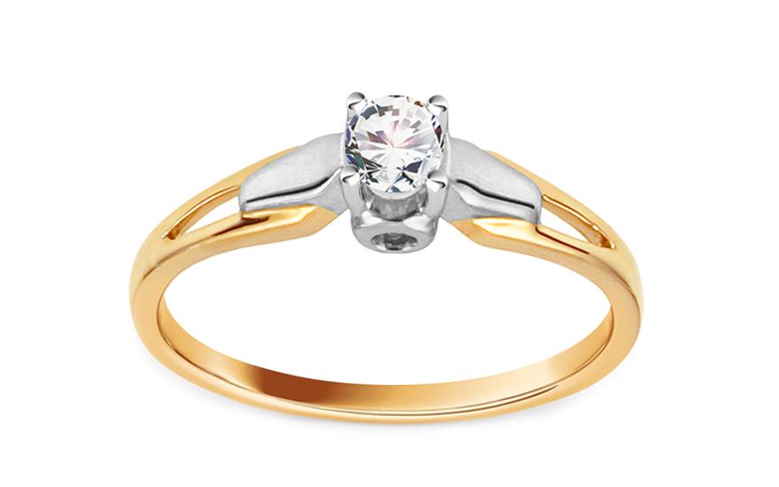 Zlatý zásnubní prsten s diamantem 0,140 ct Cassey KU623