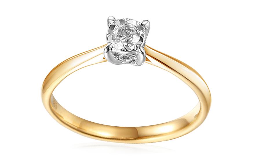 Zlatý zásnubní prsten s diamantem 0,150 ct Amal IZBR399