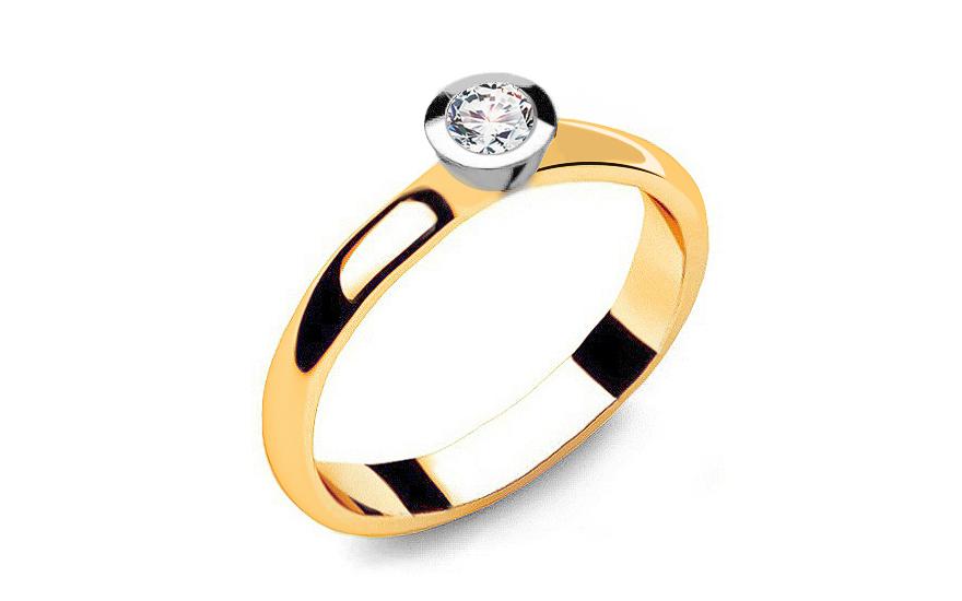 Zlatý zásnubní prsten s diamantem 0,150 ct Power Of Love 6 LRBR007YW