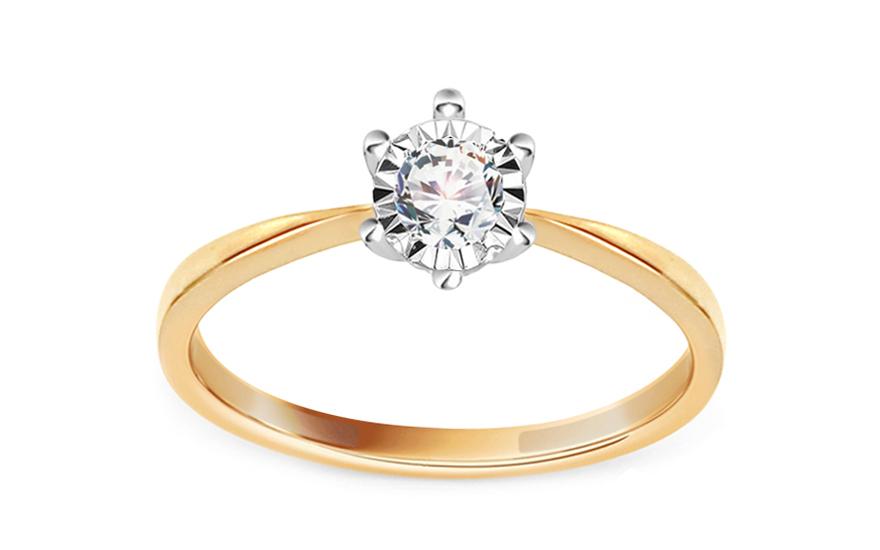 Zlatý zásnubní prsten s diamantem 0,160 ct Carolann KU641