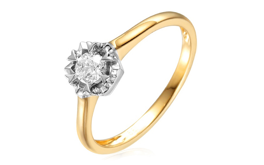 Zlatý zásnubní prsten s diamantem Adel IZBR158