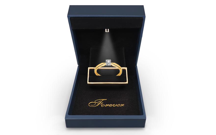 Zlatý zásnubní prsten s diamantem Aliah KU494