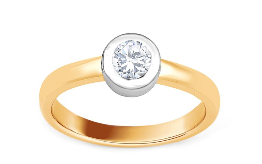Zlatý zásnubní prsten s diamantem Alma KU501