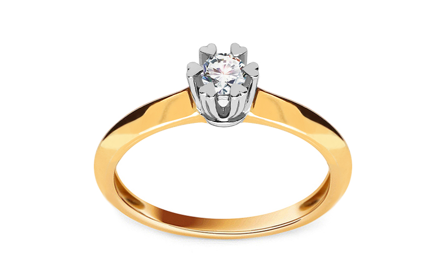 Zlatý zásnubní prsten s diamantem Belita KU499