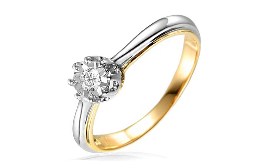 Zlatý zásnubní prsten s diamantem Caelyn IZBR025