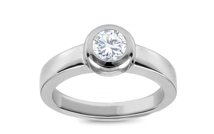 Zlatý zásnubní prsten s diamantem Daria KU335A