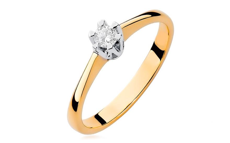 Zlatý zásnubní prsten s diamantem Devora BSBR005