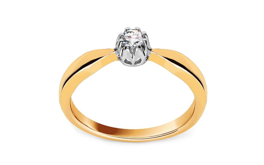 Zlatý zásnubní prsten s diamantem Emely KU484
