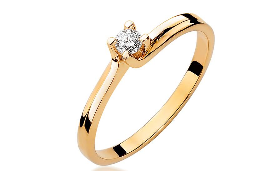 Zlatý zásnubní prsten s diamantem Fabiana BSBR008