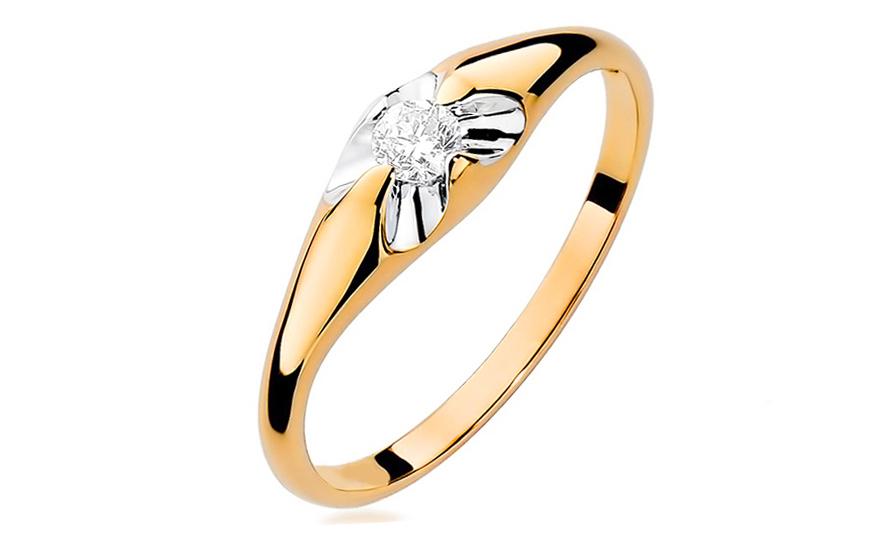 Zlatý zásnubní prsten s diamantem Fiorenza BSBR007