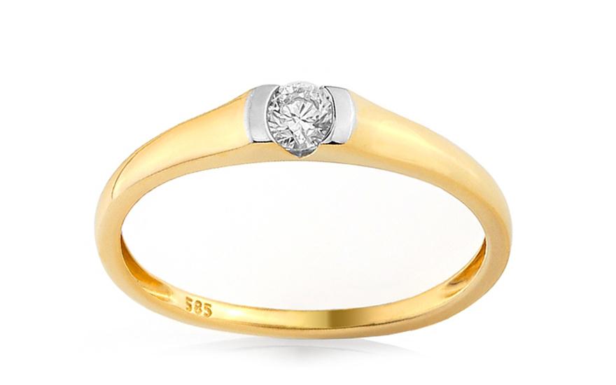Zlatý zásnubní prsten s diamantem Giona IZBR254